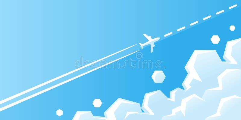 与足迹的转换型飞机飞行在与云彩传染媒介例证的天空蔚蓝 飞机在路线的天空飞行 向量例证