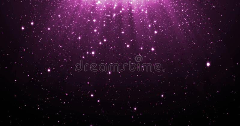 与跌倒光亮的星的抽象紫色闪烁微粒背景和轻的火光或者强光为勒克斯躺在了上面作用 向量例证