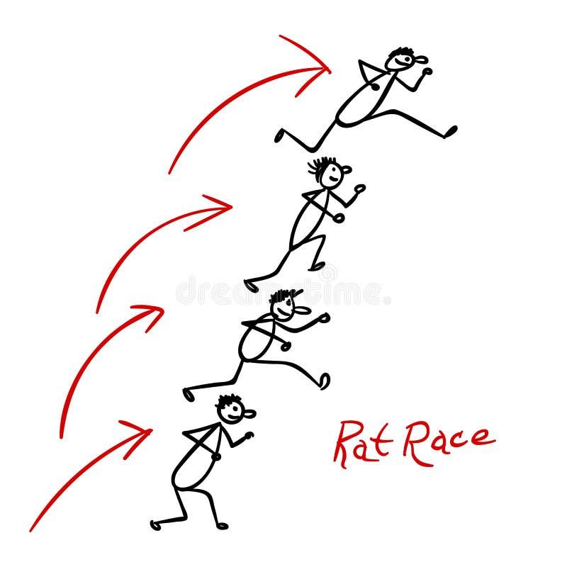 与跑在彼此的人的剪影 向量例证