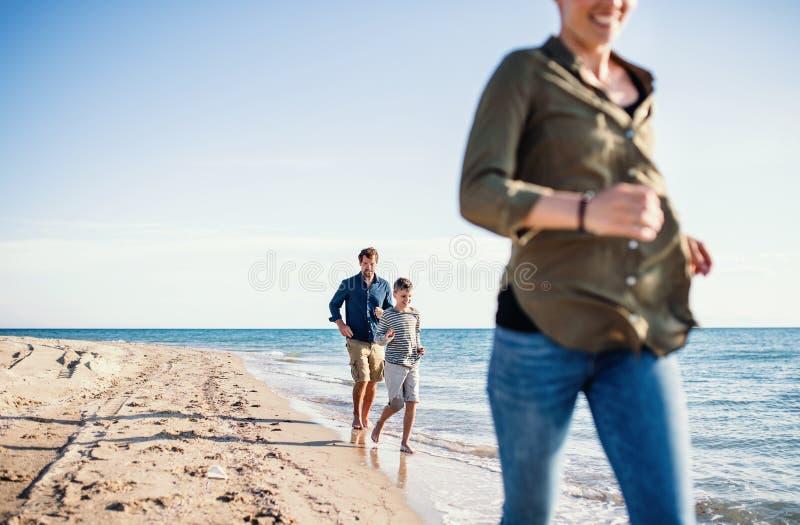 与跑户外在海滩,中央部位的小儿子的年轻家庭 免版税库存图片