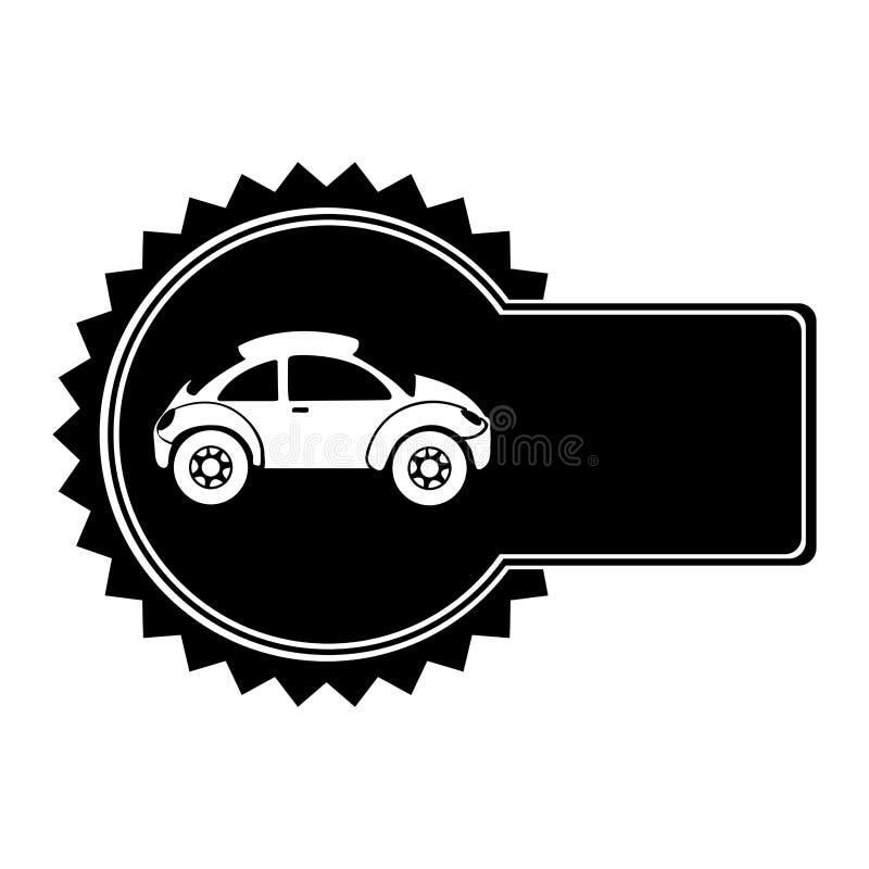 与跑车的单色圆象征在侧视图 库存例证