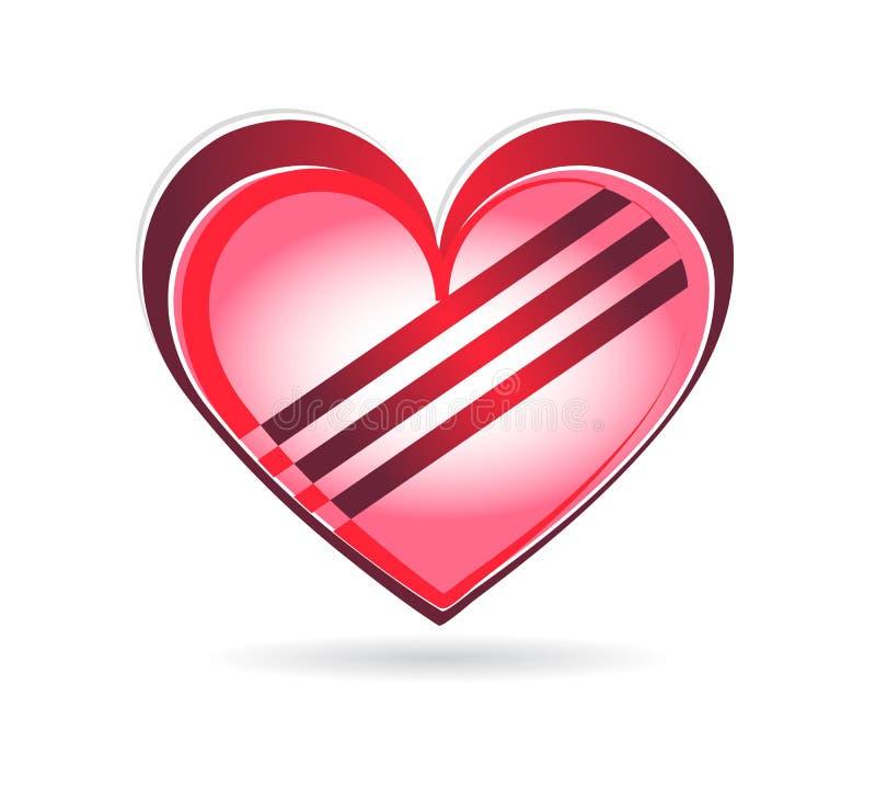与跨过的线传染媒介的抽象红心在白色背景中 库存例证
