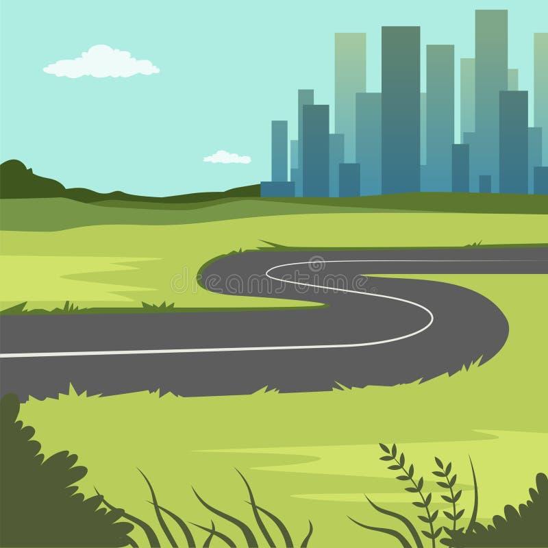 与路和城市大厦,路通过乡下到城市里,自然背景的夏天绿色风景 库存例证