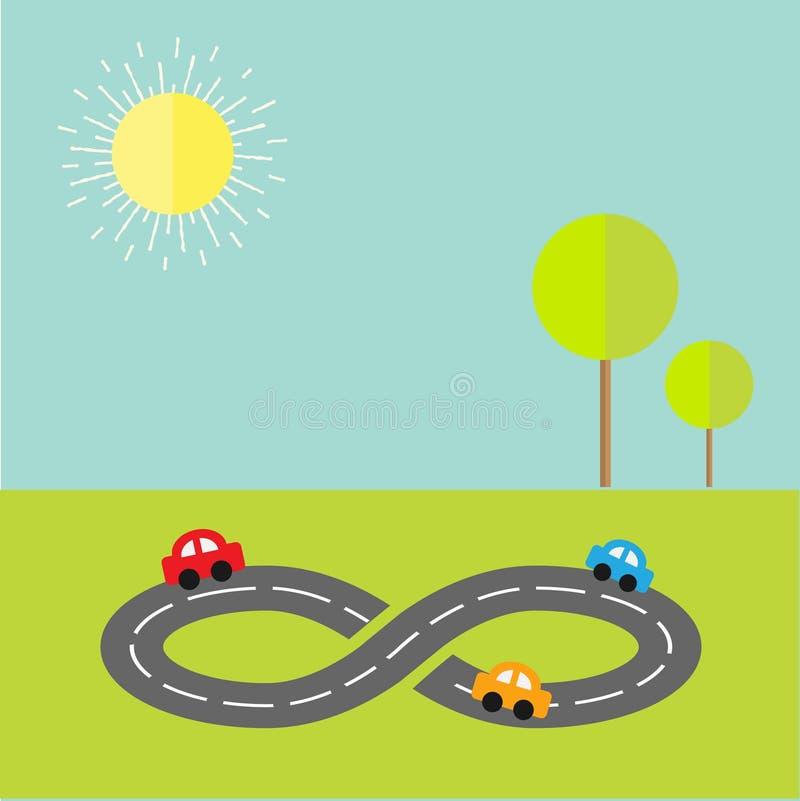 与路无限标志三动画片汽车、树和太阳的背景 平的设计 皇族释放例证