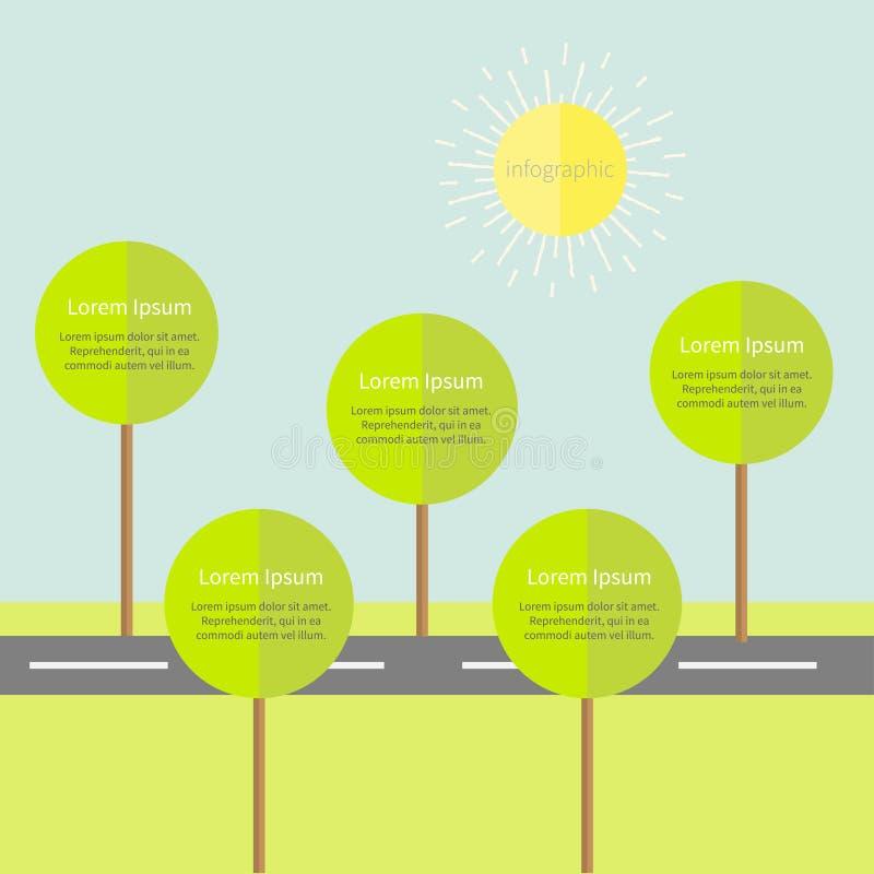 与路树和太阳的Infographic 平的设计 库存例证