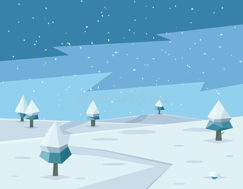 与路的冬天低多背景和多角形 库存例证