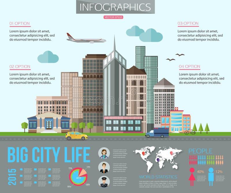 与路的大城市生活infographics,高 向量例证