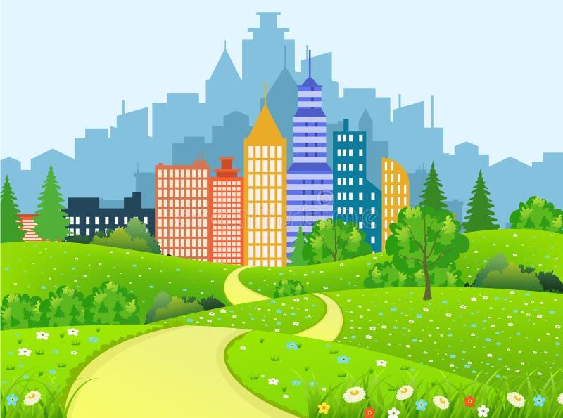 与路的绿色城市风景 向量例证