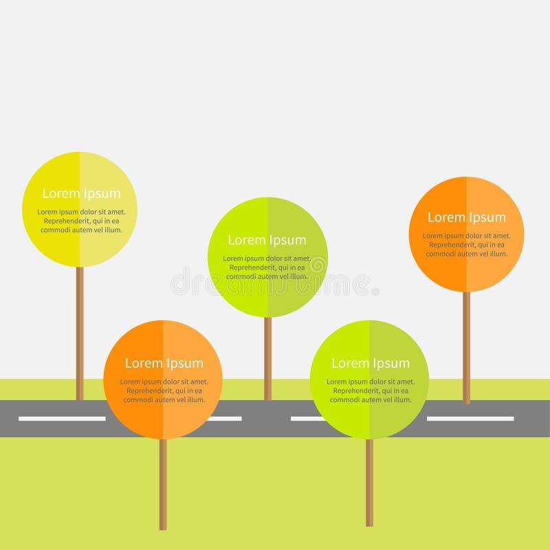 与路,绿色和橙树,太阳的Infographic 平的设计 向量例证