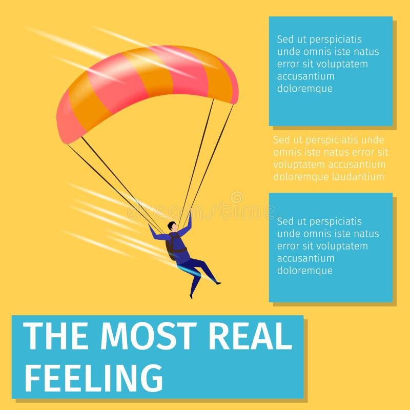 与跳伞运动员飞行的最真正的感觉的横幅 库存例证