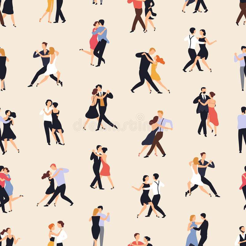 与跳舞在轻的背景的人的无缝的样式阿根廷探戈 与执行舞蹈的男人和妇女的背景 皇族释放例证