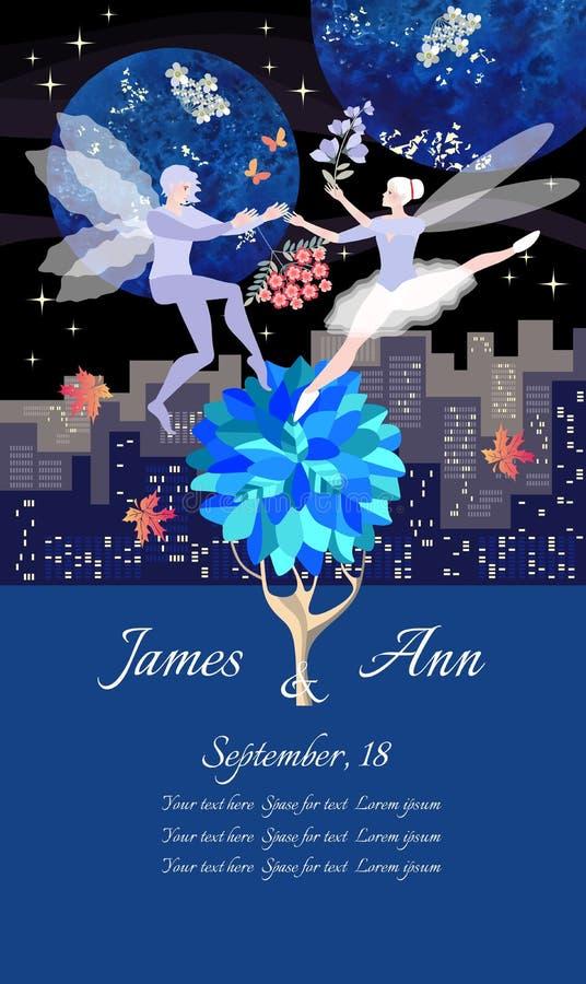 与跳舞矮子的婚姻的请帖模板 夜城市风景、花、秋天枫叶、星和行星 向量例证