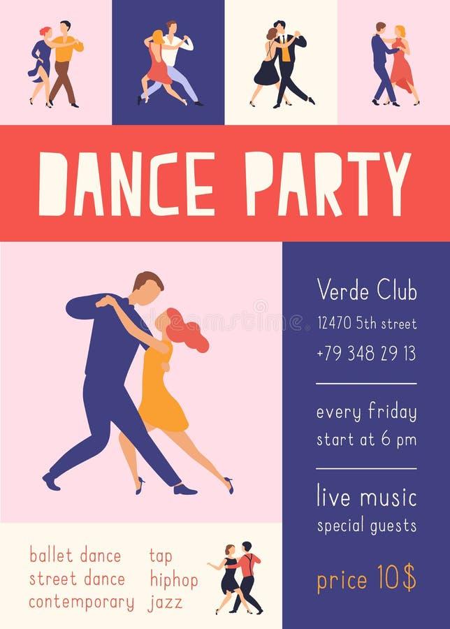 与跳舞舞会或节日广告的典雅的人民的飞行物或海报模板阿根廷探戈 ?? 库存例证