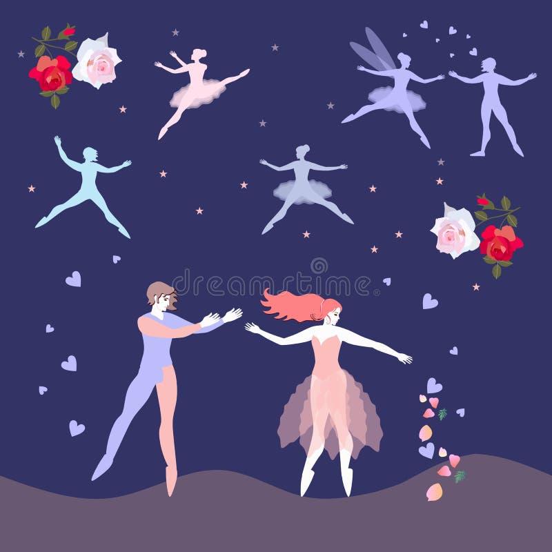 与跳芭蕾舞者、飞行的神仙、花和心脏的浪漫卡片 背景高雅重点邀请浪漫符号温暖的婚礼 蓝色云彩图象彩虹天空向量 库存例证