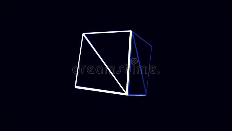 与转动在黑背景的蓝色和白色立方体边缘的动画 立方体转动的容量illustraction 库存例证