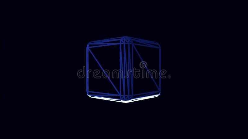与转动在黑背景的蓝色和白色立方体边缘的动画 立方体转动的容量illustraction 皇族释放例证