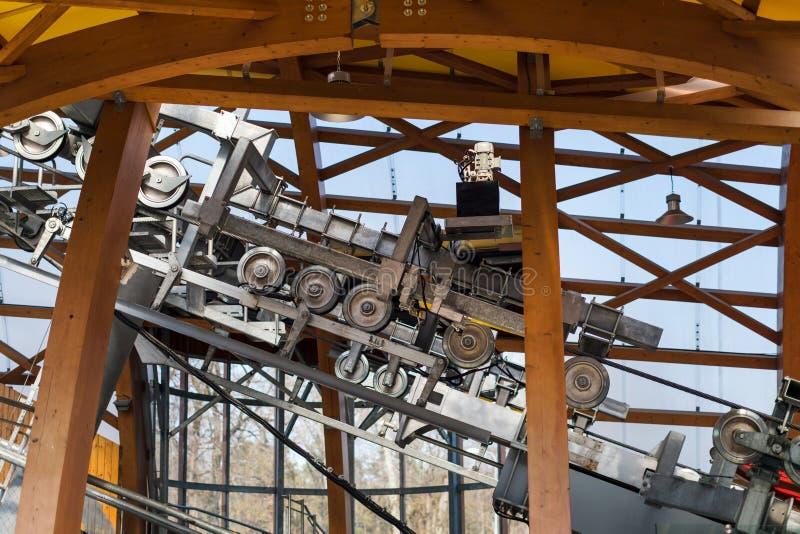 与转动的轮子的金属缆索铁路的机制 对山的举的电梯 库存图片