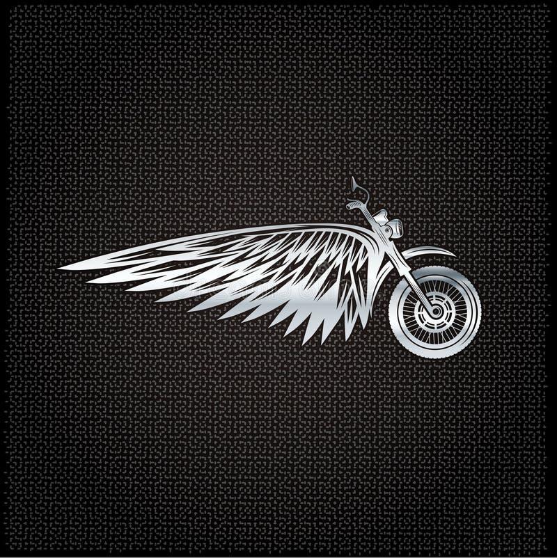 与轮子、自行车和翼的银色标签 皇族释放例证