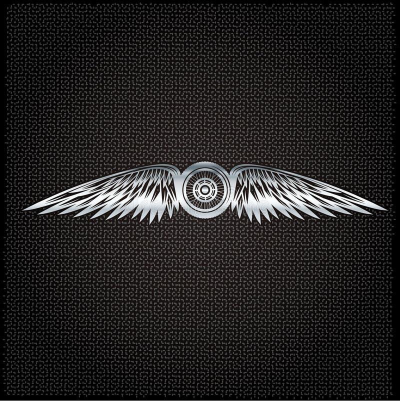 与轮子、自行车和翼的银色标签 库存例证