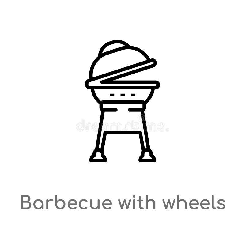 与轮子传染媒介象的概述烤肉 E r 库存例证
