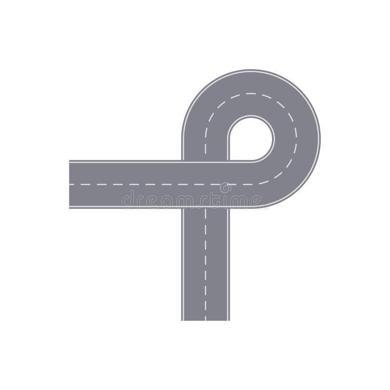 与轮的路圆环隔绝了街道地图段 向量例证