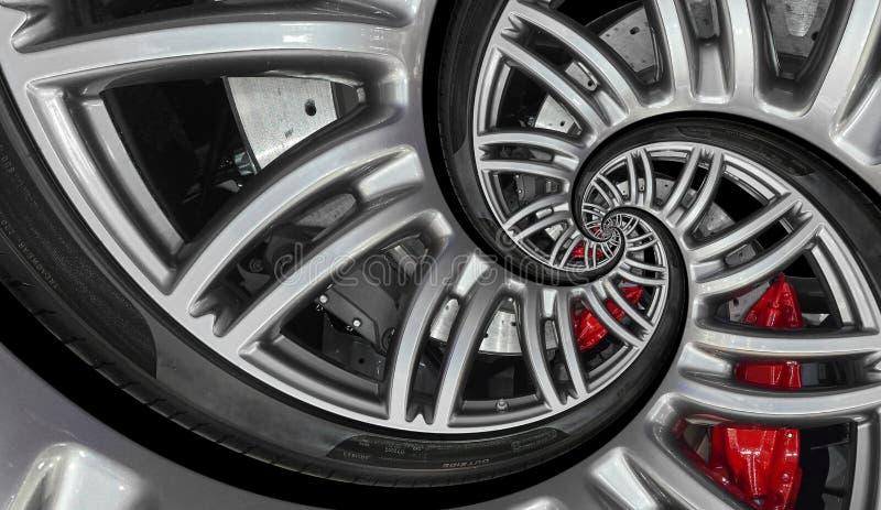 与轮胎,闸圆盘的抽象跑车螺旋轮子外缘 汽车反复样式背景例证 车轮和钛 免版税库存照片