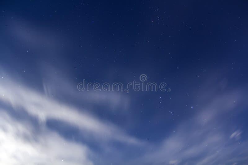与软的松的白色c的美丽的意想不到的明亮的高蓝天 免版税库存照片