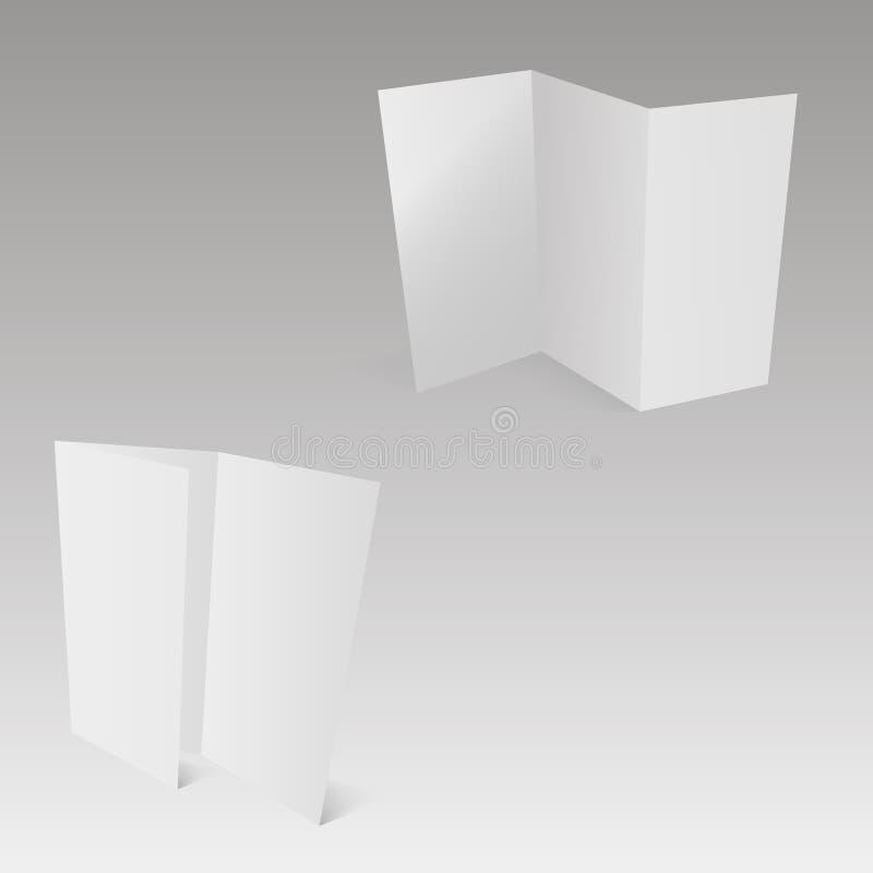与软的阴影的空白的三部合成的白色模板纸 向量 向量例证