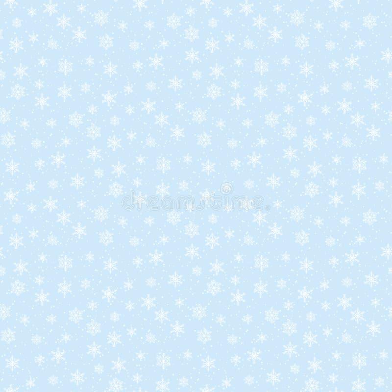 与软的雪花的冬天天空印刷品逗人喜爱的传染媒介无缝的样式在蓝色多雪的天堂背景 皇族释放例证