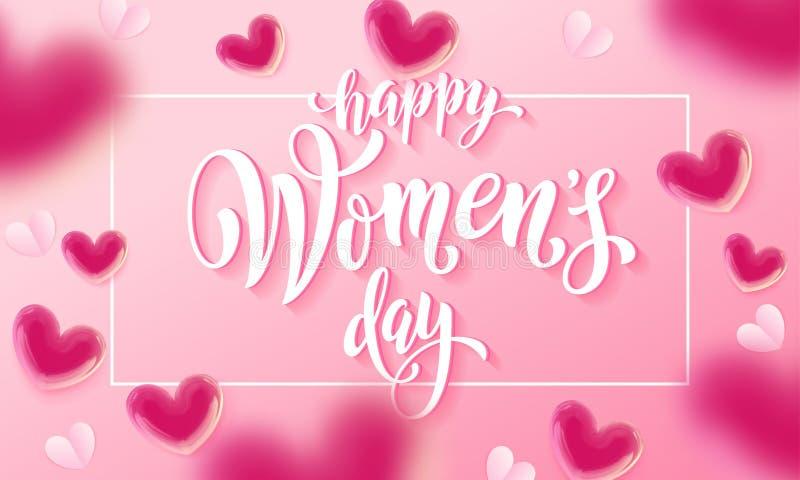 与轻快优雅心脏的愉快的妇女` s天横幅在浪漫桃红色背景 传染媒介3月8日问候文本海报 库存例证