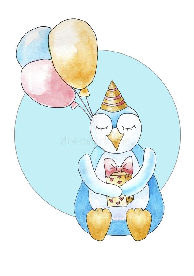 与轻快优雅的生日快乐企鹅在蓝色圈子 皇族释放例证