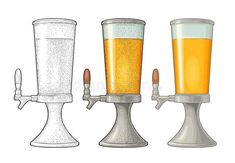 与轻拍的啤酒塔 葡萄酒传染媒介颜色板刻例证 向量例证