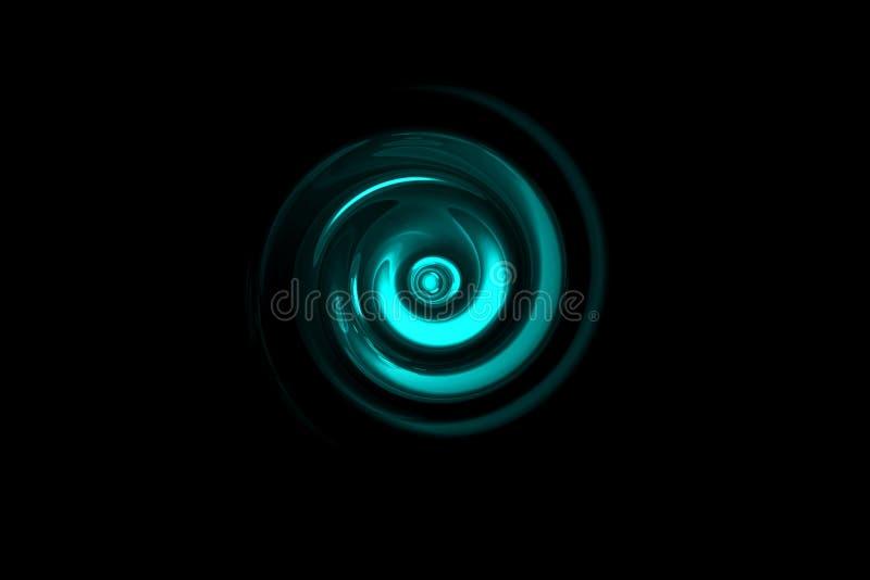 与轻的圆环的发光的小野鸭漩涡在黑背景,抽象背景 皇族释放例证