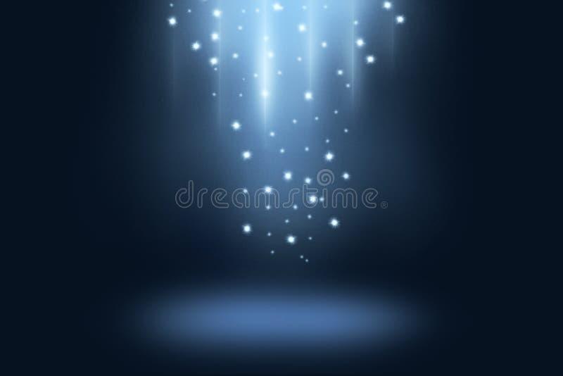 与轻的星和聚光灯的蓝色黑暗的阶段和展示背景 库存照片