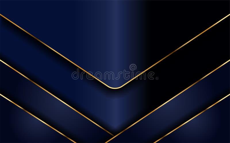 与轻的金黄线的现代海军背景 库存例证