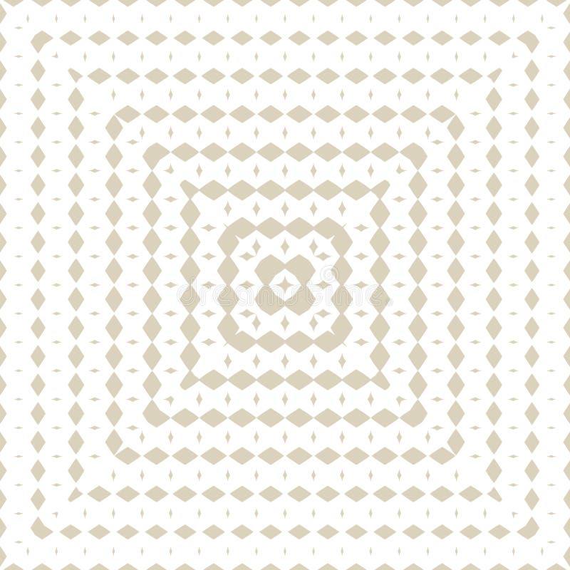 与辐形半音转折的金黄几何无缝的样式以方形的形式 向量例证