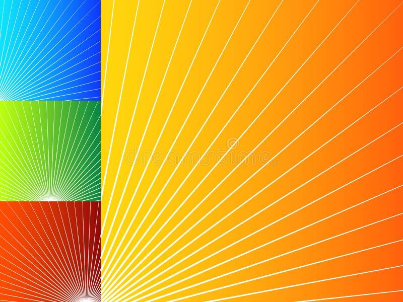 与辐形线的五颜六色的抽象背景 向量例证