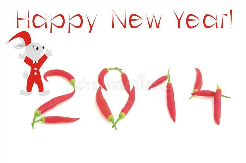 与辣椒数字的新年的背景 免版税库存照片