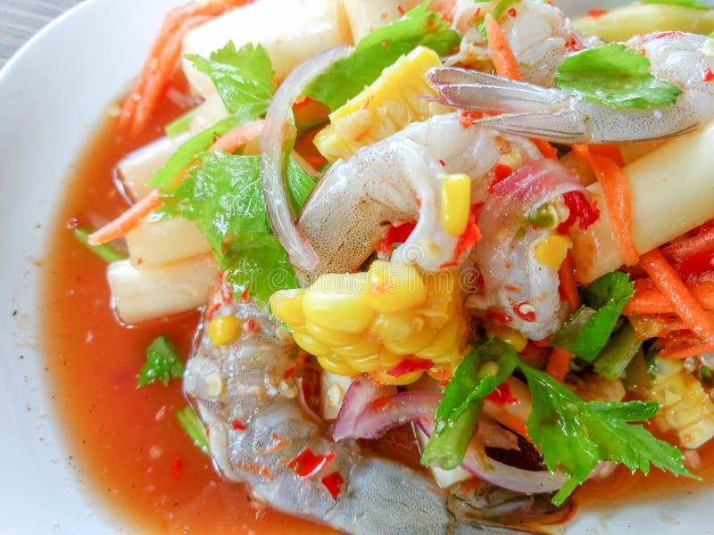 与辣的海鲜沙拉 库存照片