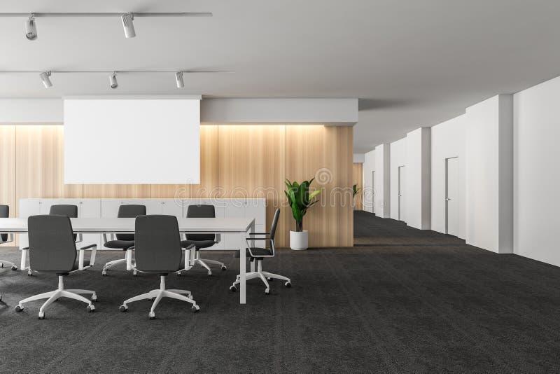 与辩论空间的现代白色空的办公室内部 3d回报 大模型海报 向量例证