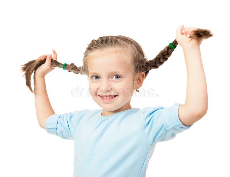 与辫子的女孩画象在白色 免版税库存照片