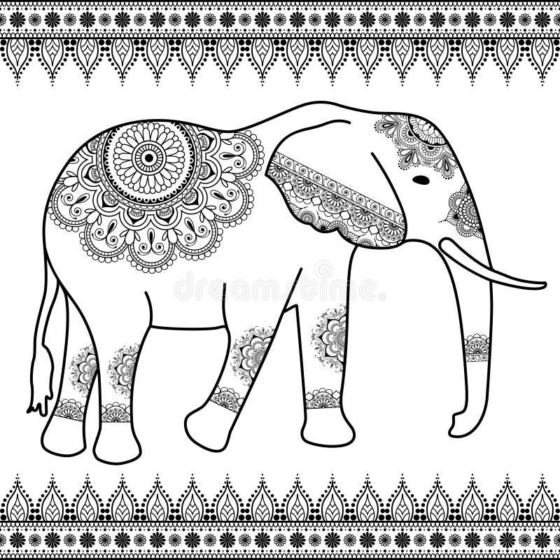 与边界元素的大象在种族mehndi印地安人样式 被隔绝的传染媒介黑白例证 库存例证