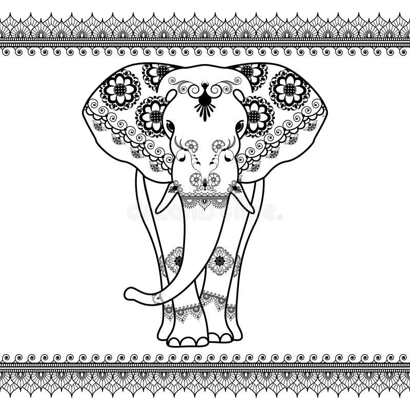 与边界元素的大象在种族mehndi样式 传染媒介被隔绝的黑白前面大象的例证 向量例证