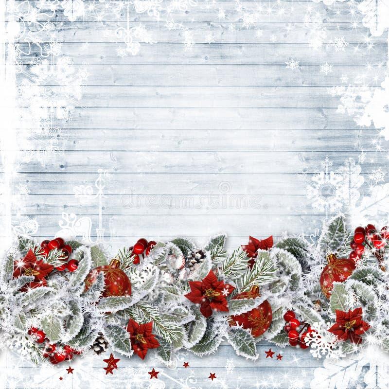与边界冷杉的圣诞节背景分支,红色莓果和球在木板 向量例证