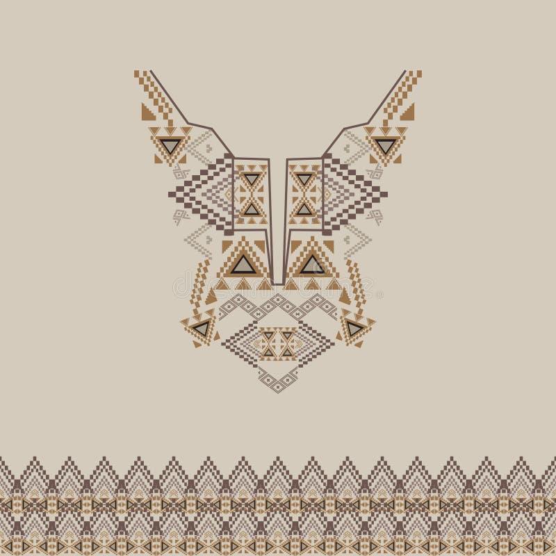 与边界的领口设计在时尚的种族样式 阿兹台克脖子印刷品 向量例证
