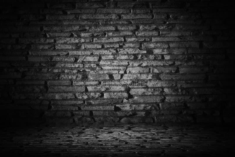 与边界黑色小插图backgroun的抽象黑水泥砖 向量例证