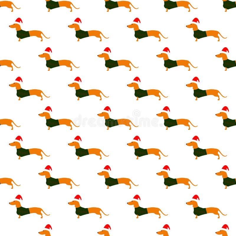 与达克斯猎犬的样式在圣诞节帽子和绿色背心 库存例证
