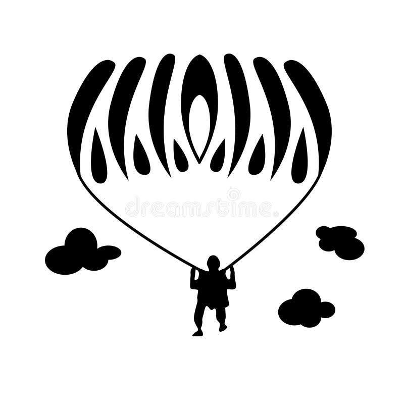 与运动员跳伞运动员的简单的例证 库存例证