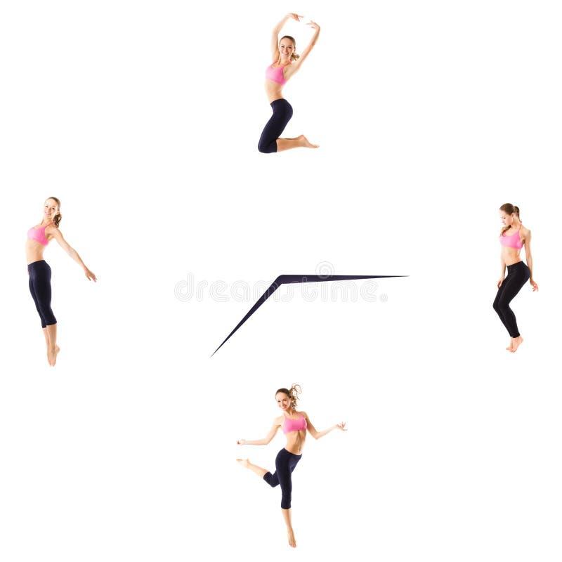与运动的妇女的健身概念在时钟的白色背景的 图库摄影