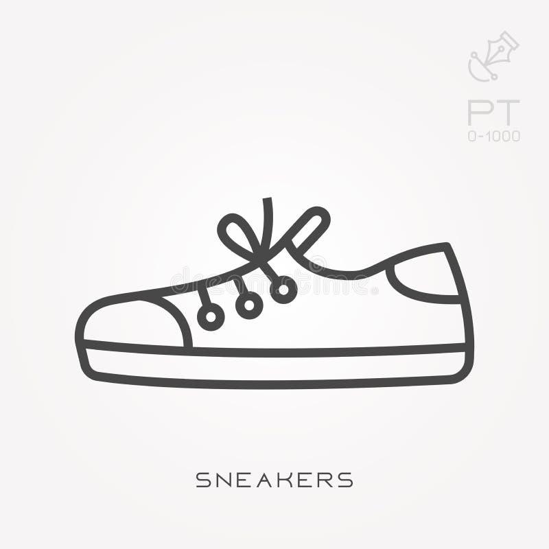 与运动鞋的平的传染媒介象 库存例证